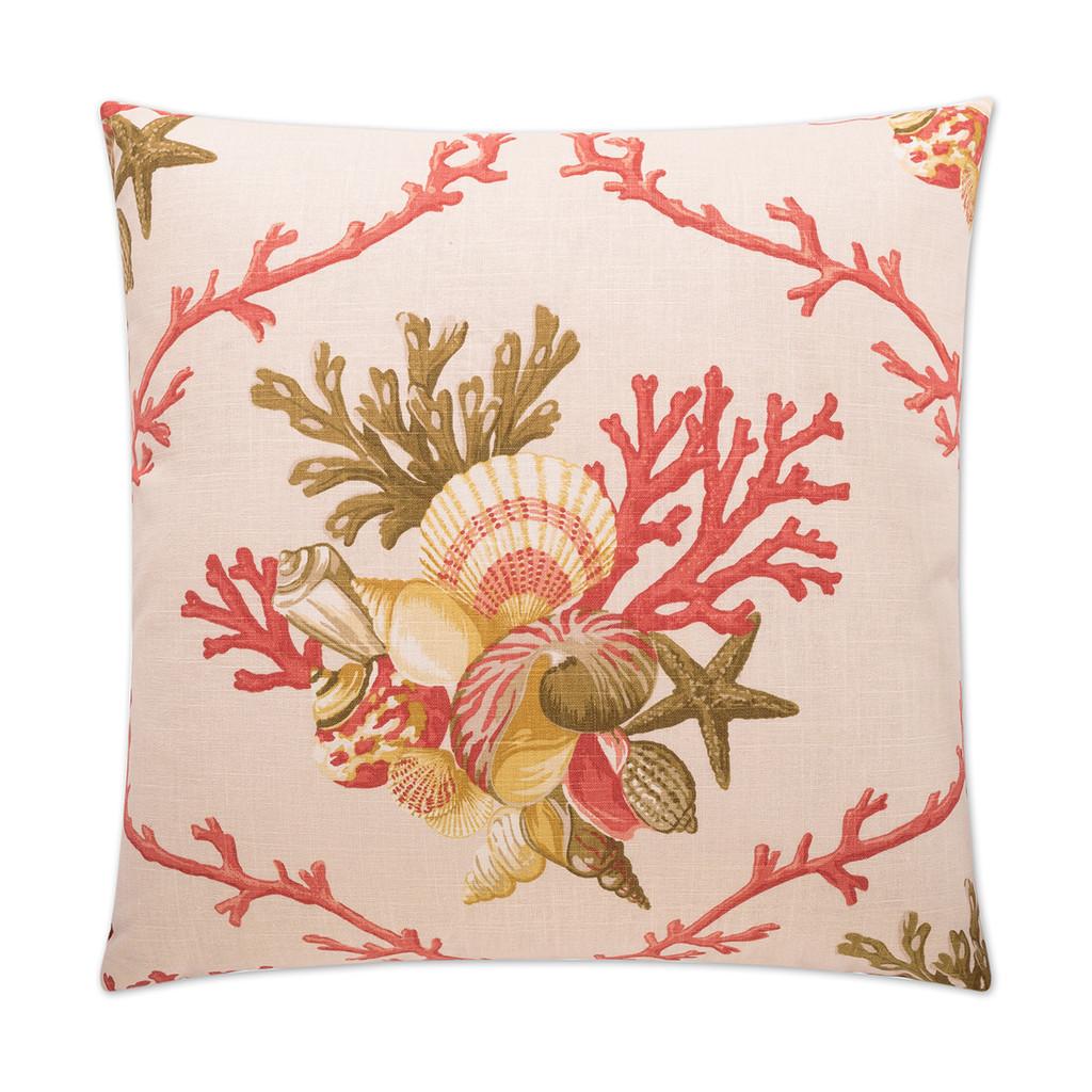 Shelldon 24 x 24 Linen Pillow - Coral