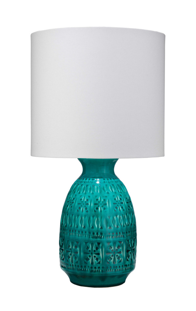 Flores Table Lamp in Turquoise Blue Ceramic