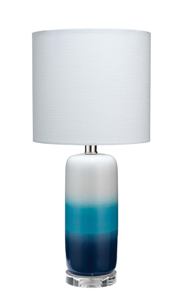 Blue Ocean Haze Ombre Striped Table Lamp