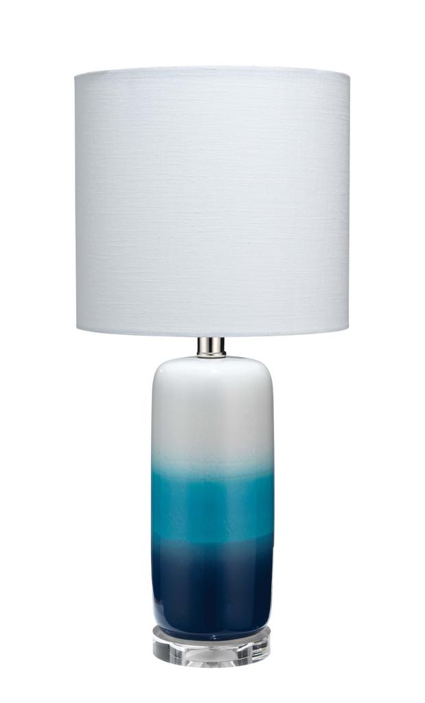 Blue Ocean Haze Ombre Striped Table Lamp
