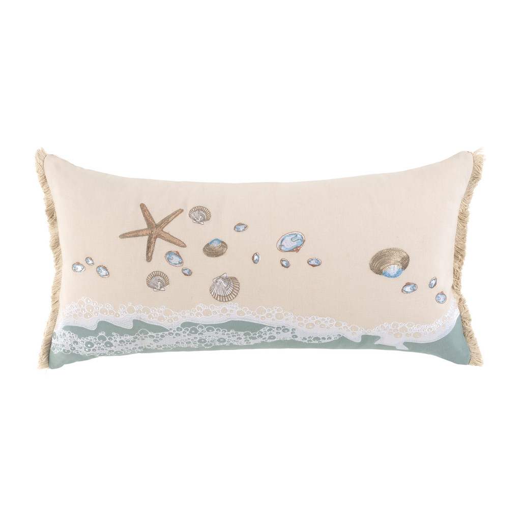 Beach Combers Shell Embroidered Rectangle Pillow single image