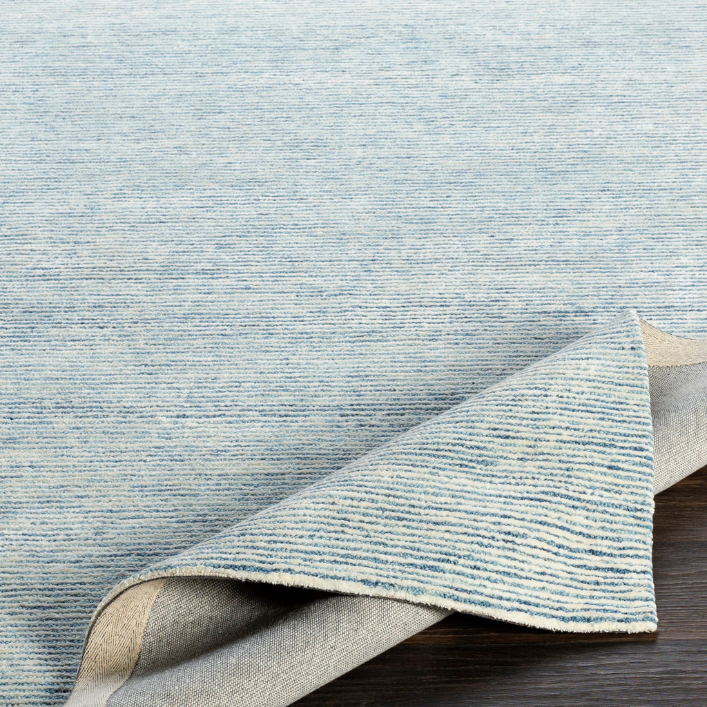 Pale Denim Strada Wool and Viscose Rug fold