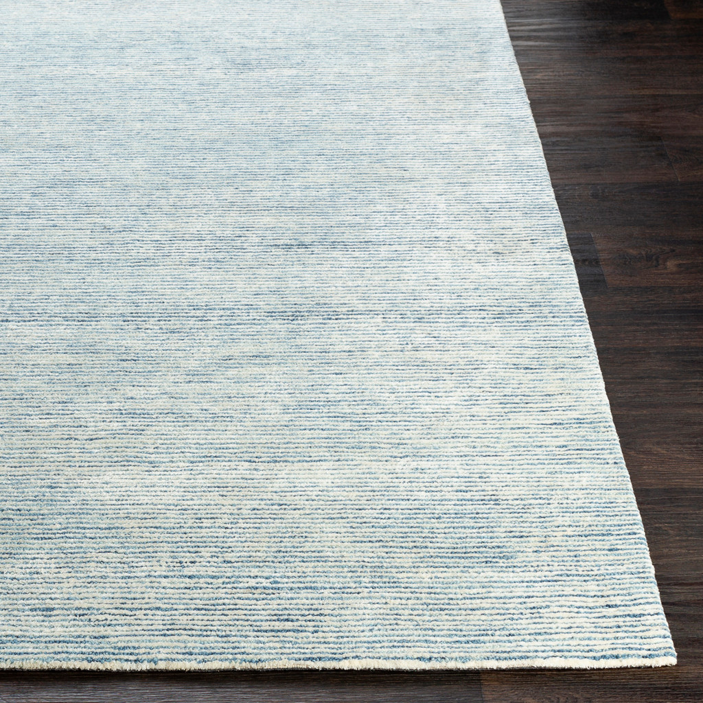 Pale Denim Strada Wool and Viscose Rug corner