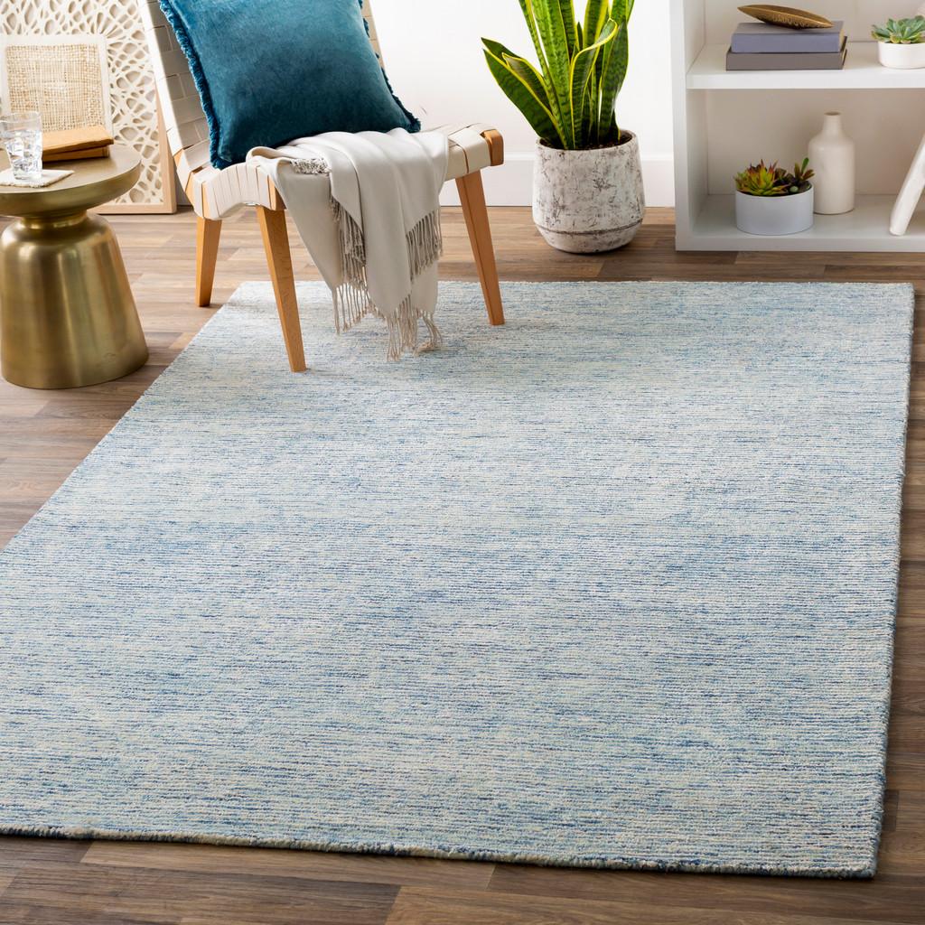 Pale Denim Strada Wool and Viscose Rug room view 1