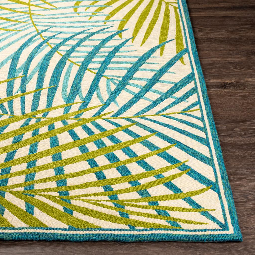 Tropic Green Palms Hand-Hooked Area Rug corner