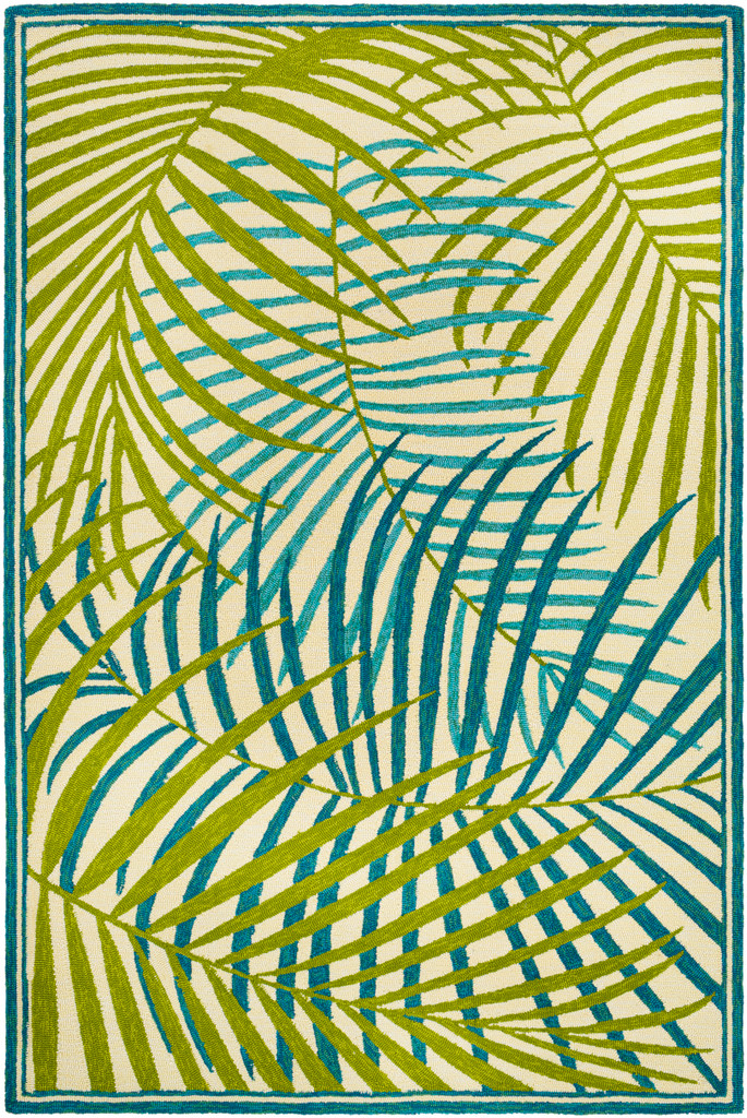 Tropic Green Palms Hand-Hooked Area Rug