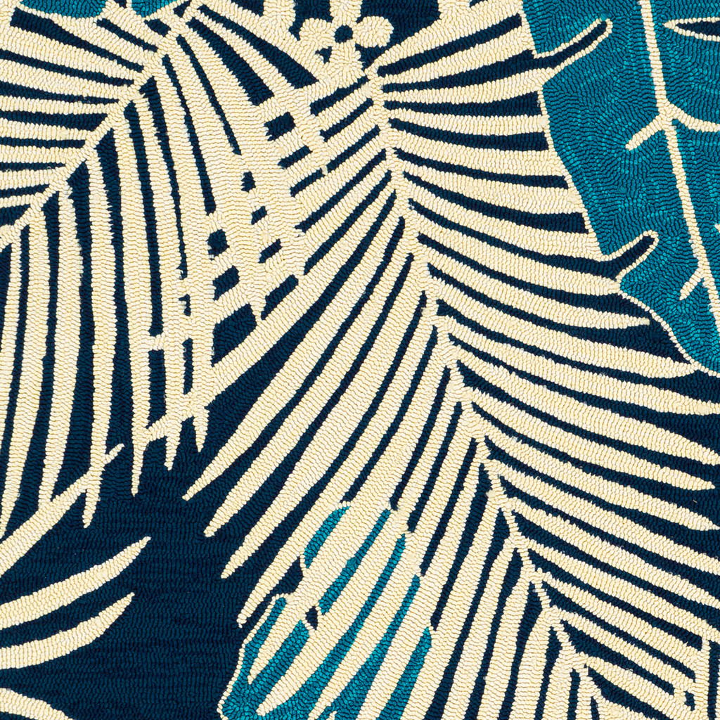 Navy Blue Palms Hand-Hooked Area Rug