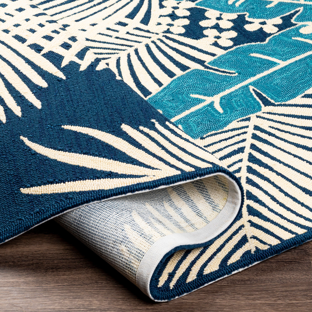Navy Blue Palms Hand-Hooked Area Rug fold