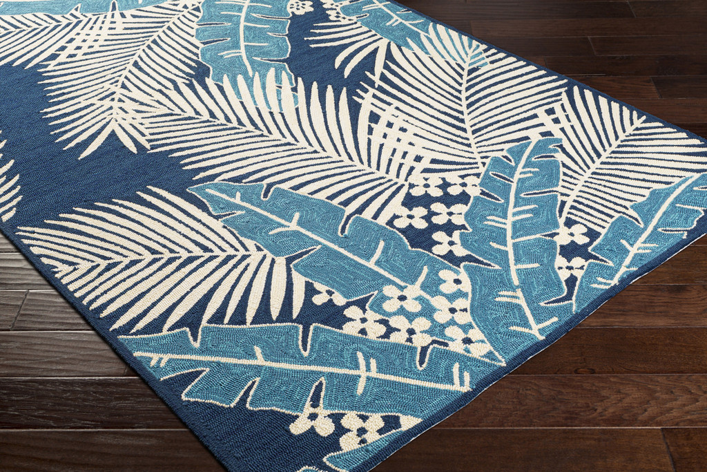 Navy Blue Palms Hand-Hooked Area Rug floor view