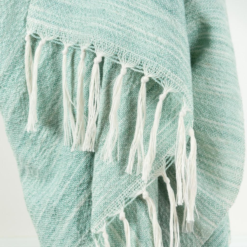 Aqua Waves Casual Knit Fringed Throw close up