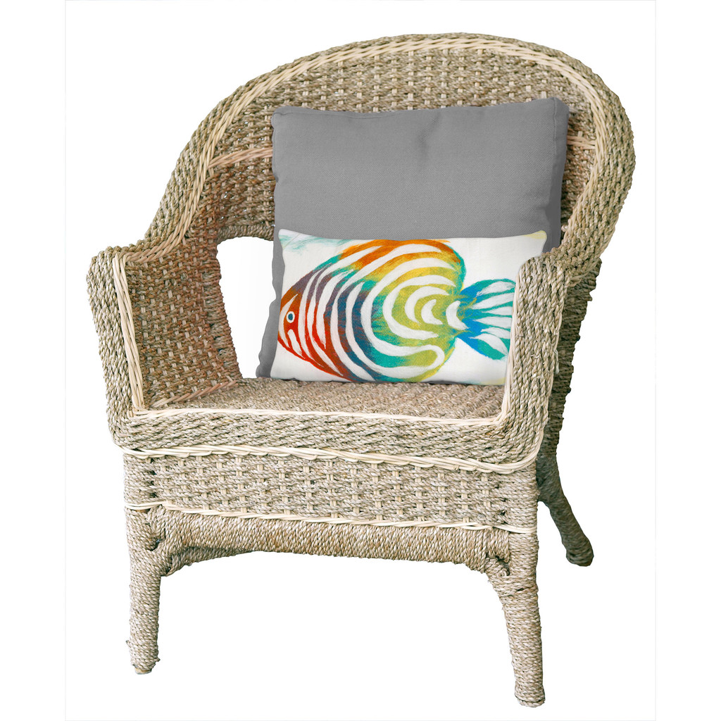 Rainbow Fish Pearl 12 x 20 Pillow on chair