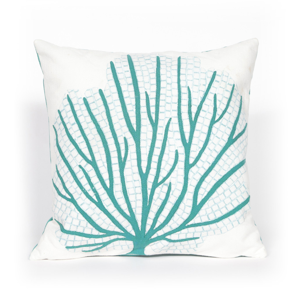 Turquoise Coral Fan Indoor-Outdoor 20 x 20 Pillow