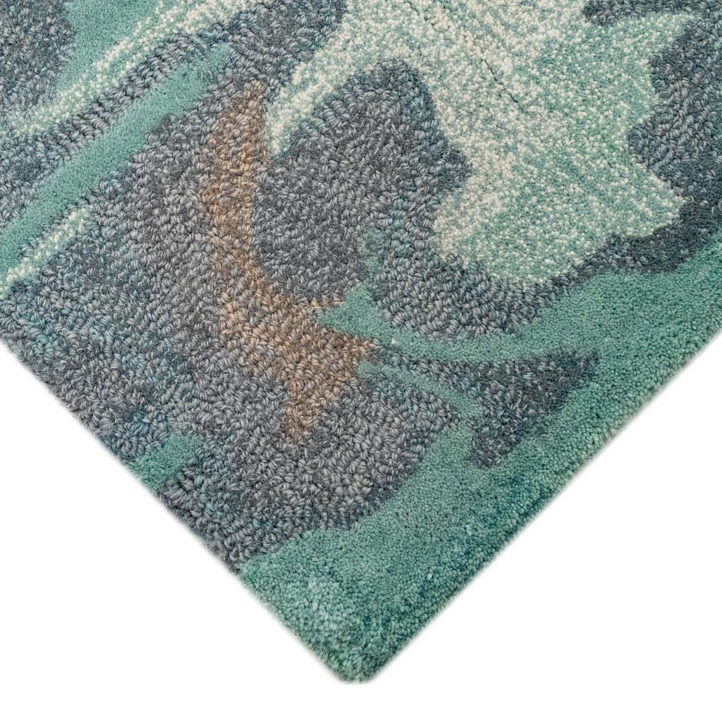 Storm Aqua Hand-Tufted Wool Rug corner close up