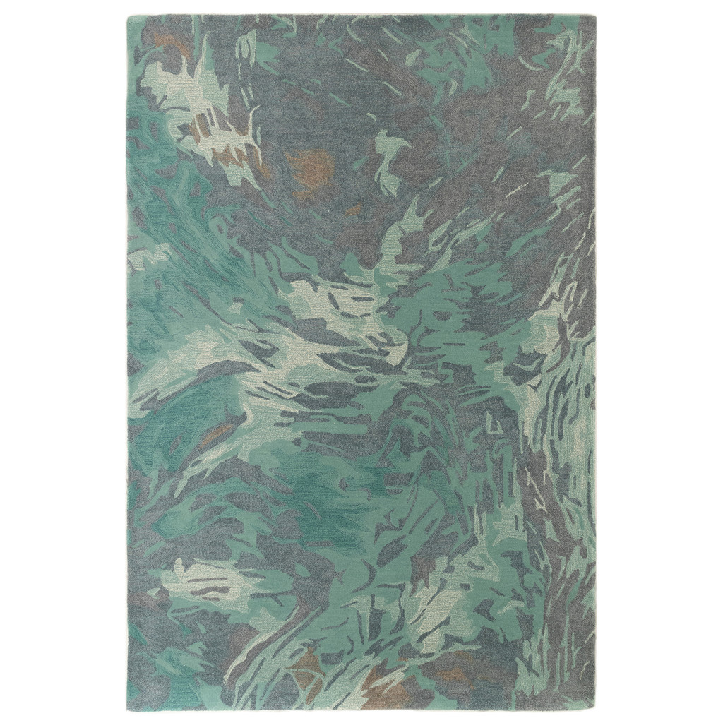 Storm Aqua Hand-Tufted Wool Rug