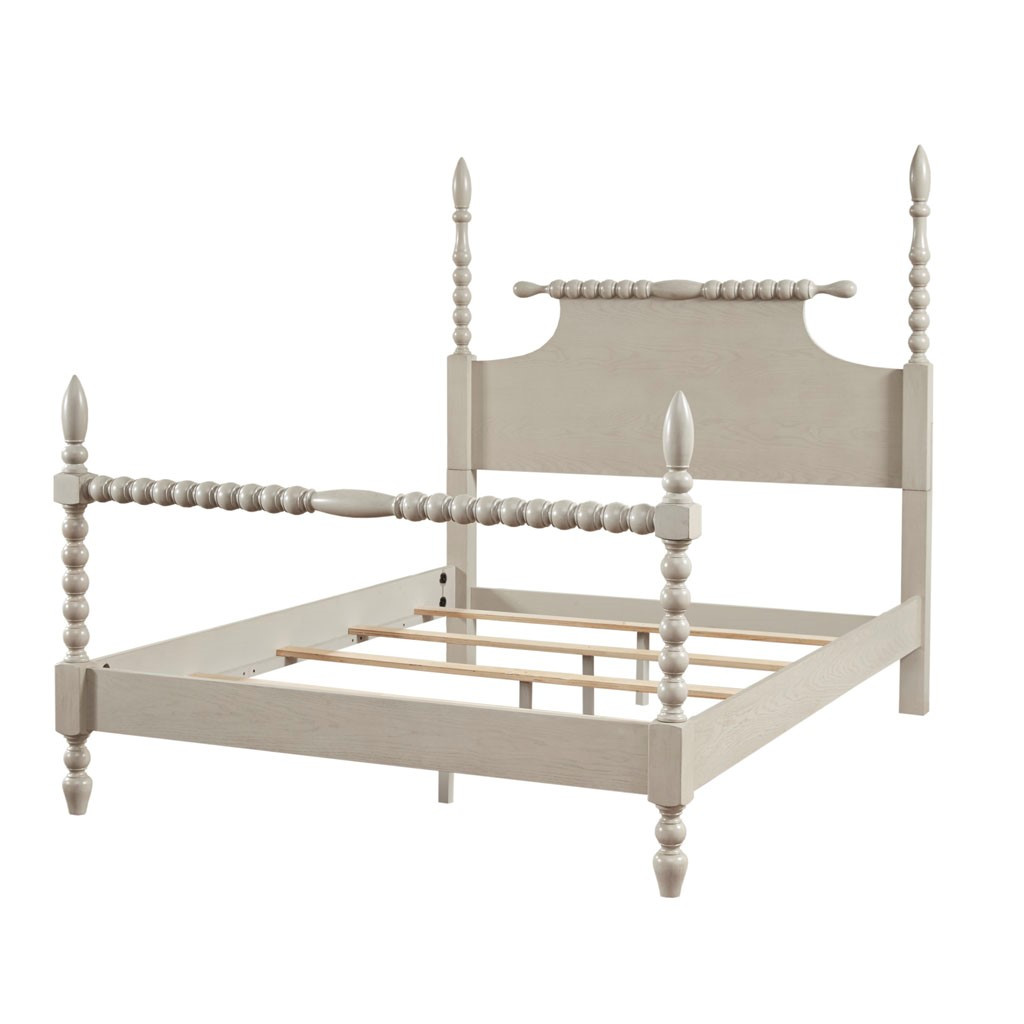 Beckett Curvy Whitewashed King Size Bed  angle view