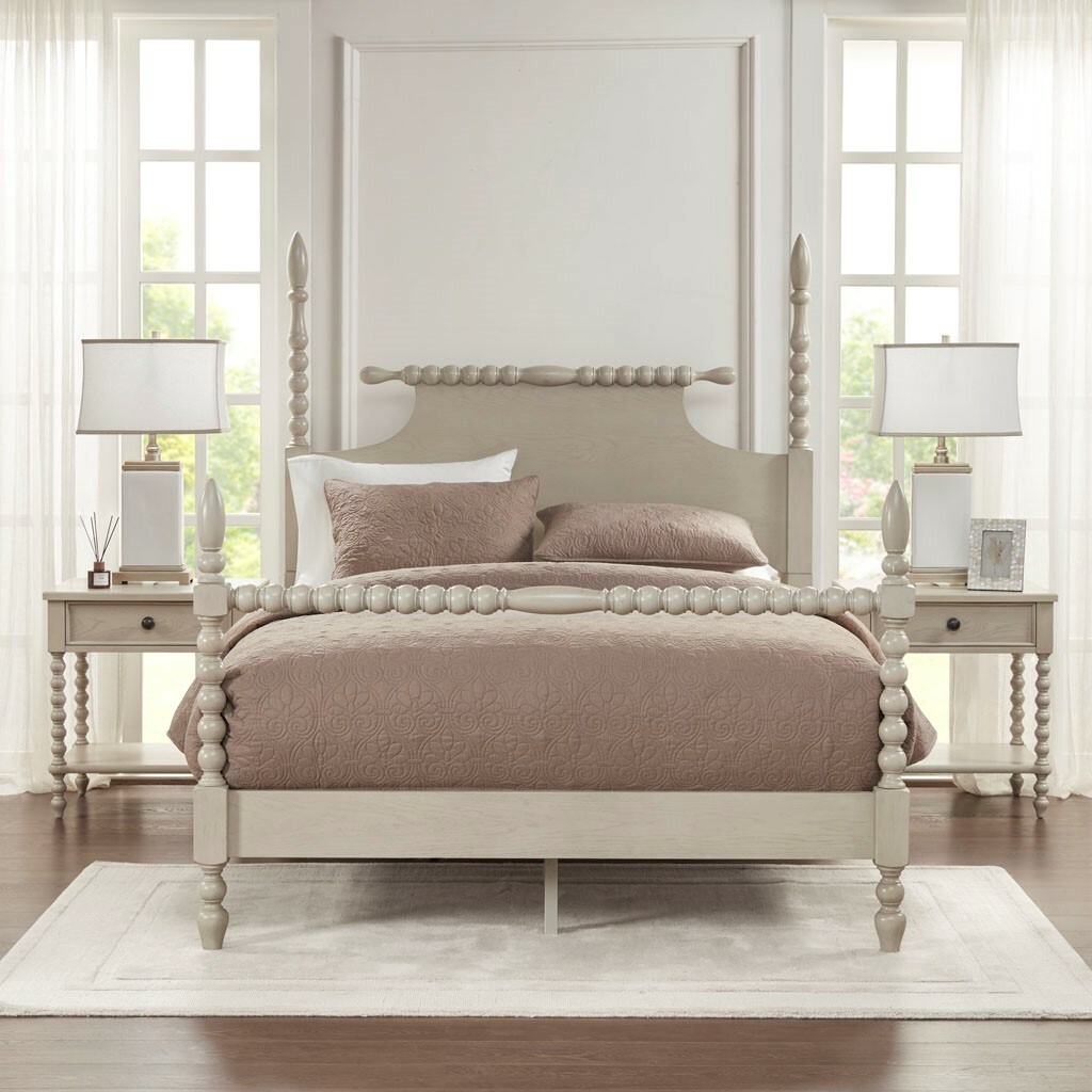 Beckett Curvy Whitewashed King Size Bed room view 2