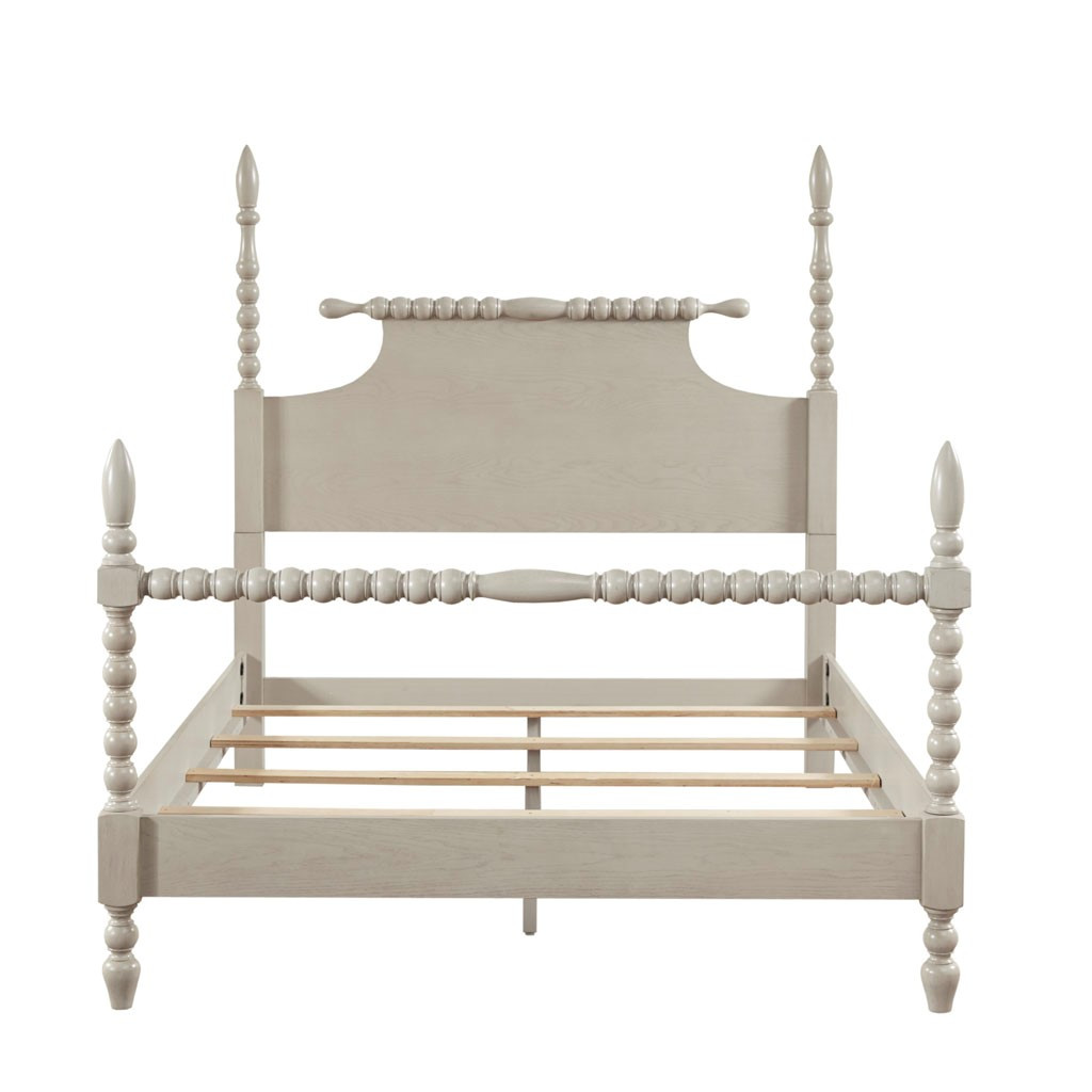 Beckett Curvy Whitewashed King Size Bed  front view