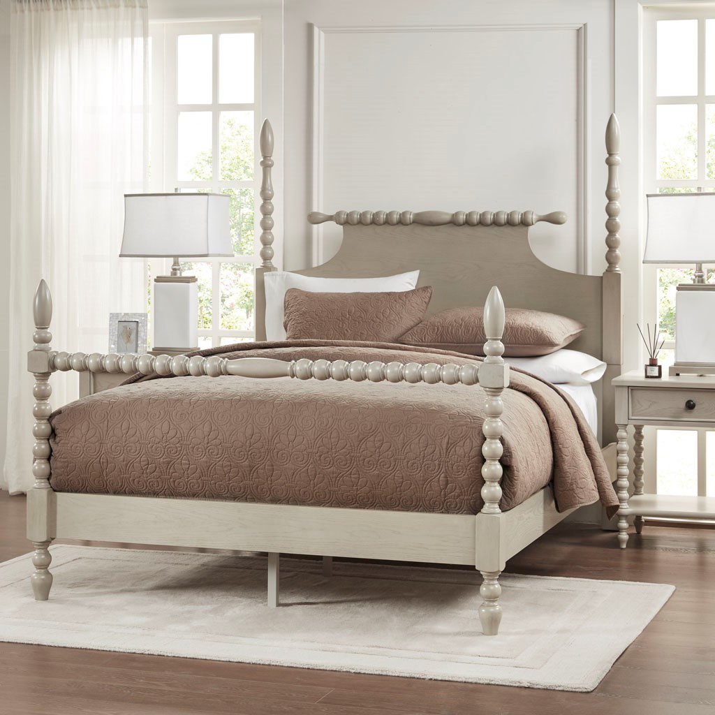 Beckett Curvy Whitewashed Queen Size Bed view 1
