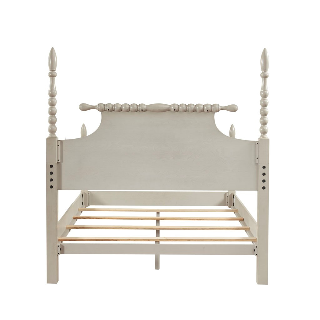 Beckett Curvy Whitewashed Queen Size Bed back of headboard