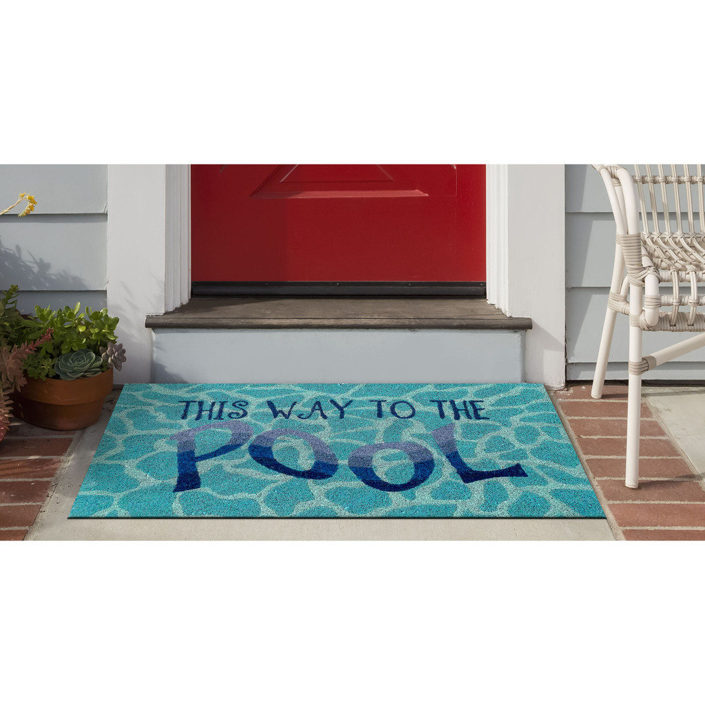 This Way to the Pool Natural Coir Mat - 24 x 36  front door view