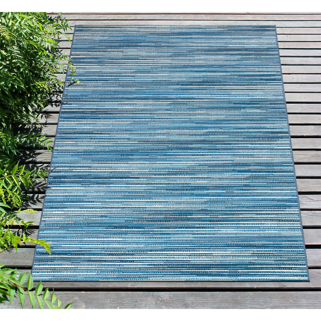 Marina Blue Striped Area Rug deck view