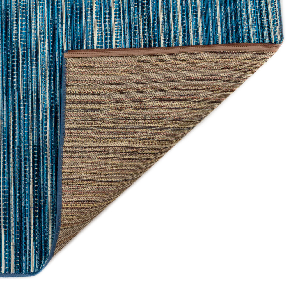 Marina Blue Striped Area Rug backing