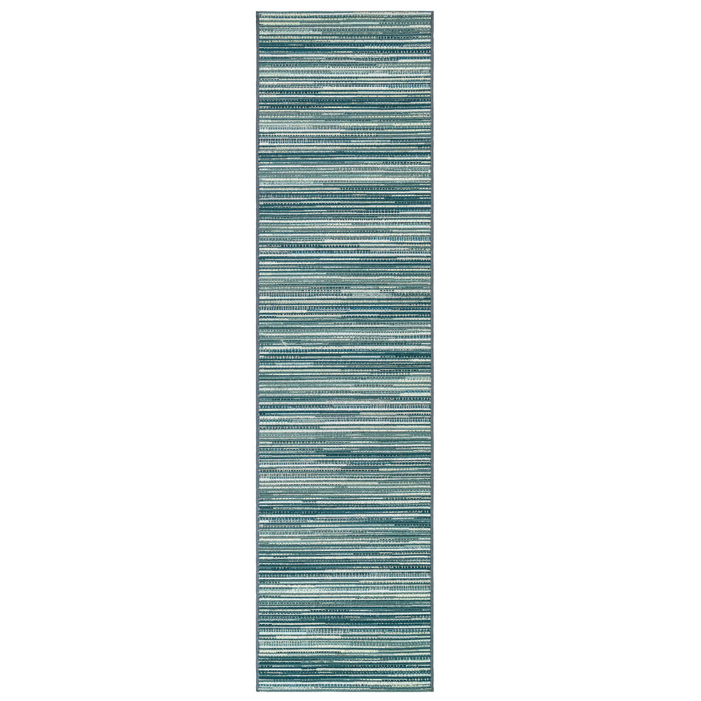 Marina Turquoise Striped Area Rug runner size