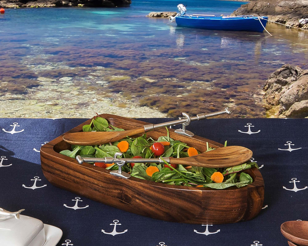Row Boat and Oars Salad Set on table 2