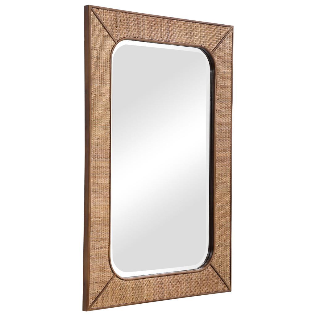 Tahiti Rattan Framed Mirror angle view