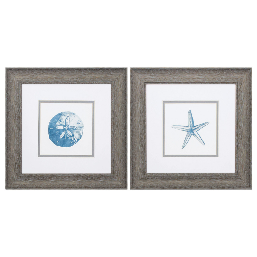 Blue Sand Dollar and Starfish Framed Art - Set of Two