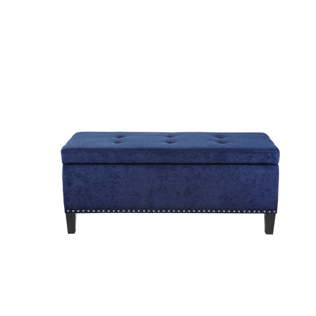 Sea Blue Tufted Storage Bench closed