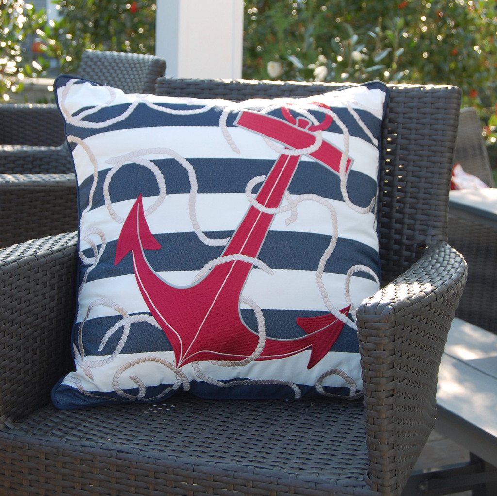 Blue Striped Red Anchor Pillow outdoor view 2