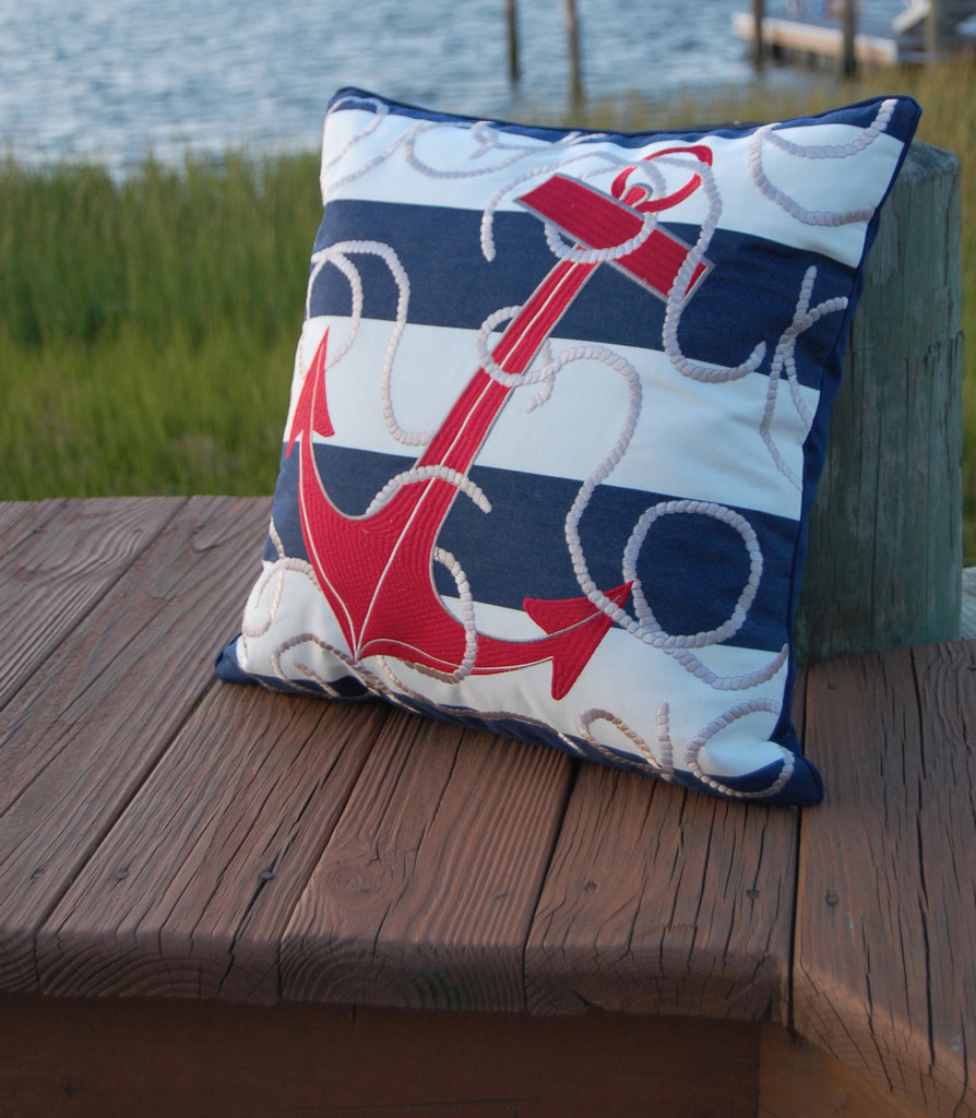 Blue Striped Red Anchor Pillow outdoor view 1
