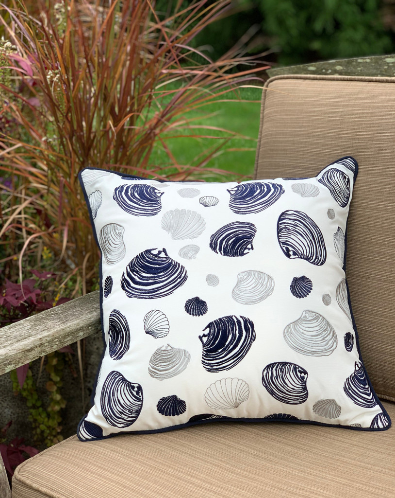 Bunch of Clams Embroidered Pillow outdoor view