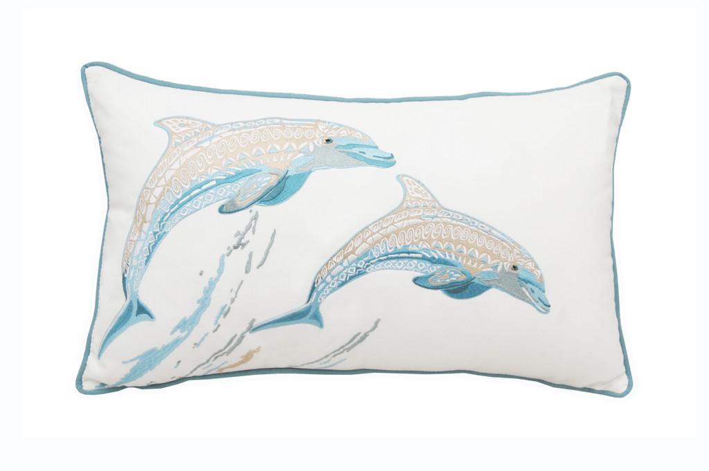 Playful Dolphin Embroidered Lumbar Pillow