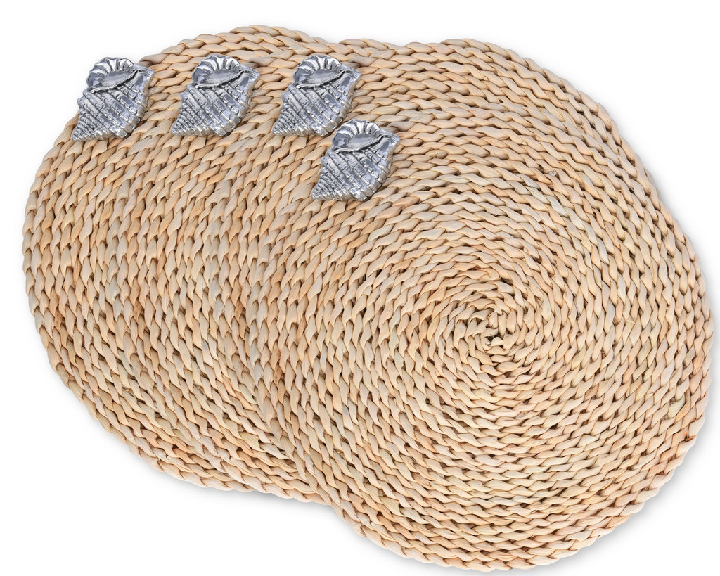 Twisted Seagrass Placemats with Pewter Sea Shell - Set of 4