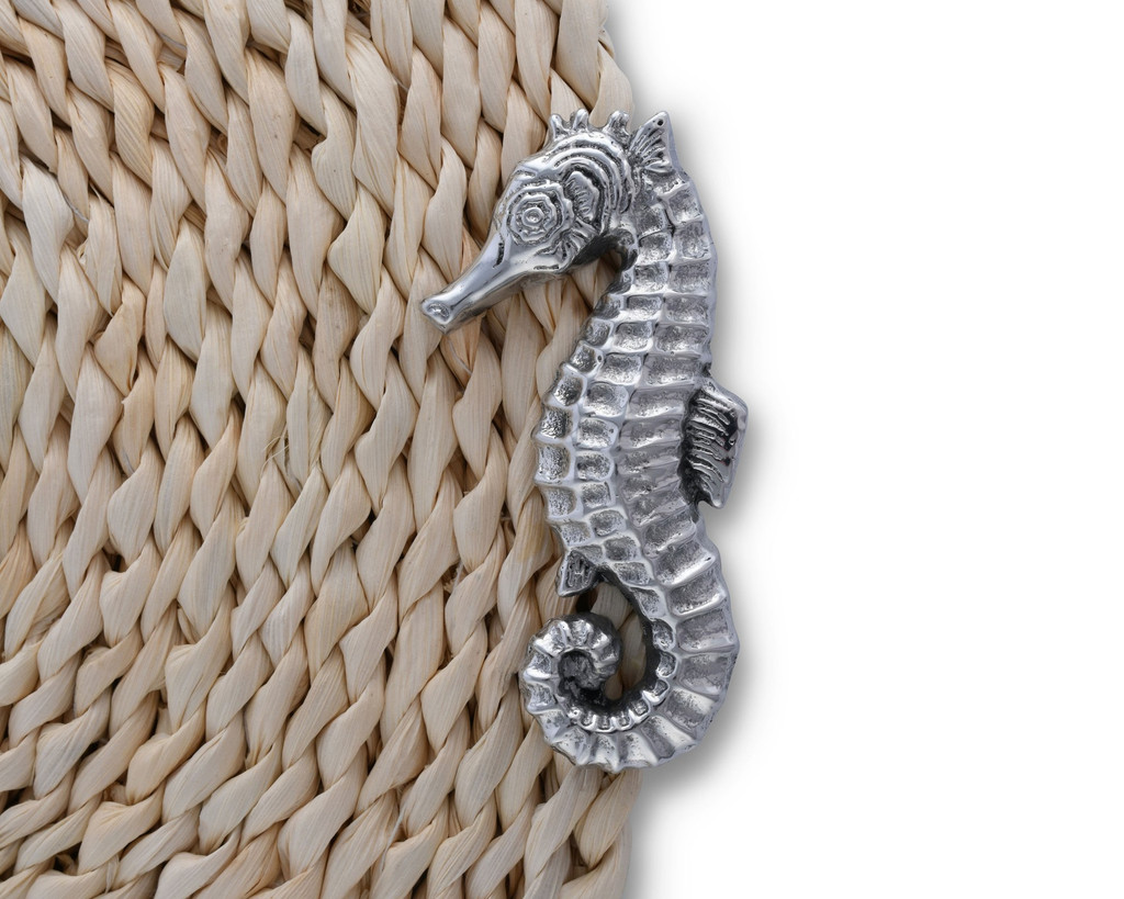 Twisted Seagrass Placemats with Pewter Sea Horse -Set of 4 detail