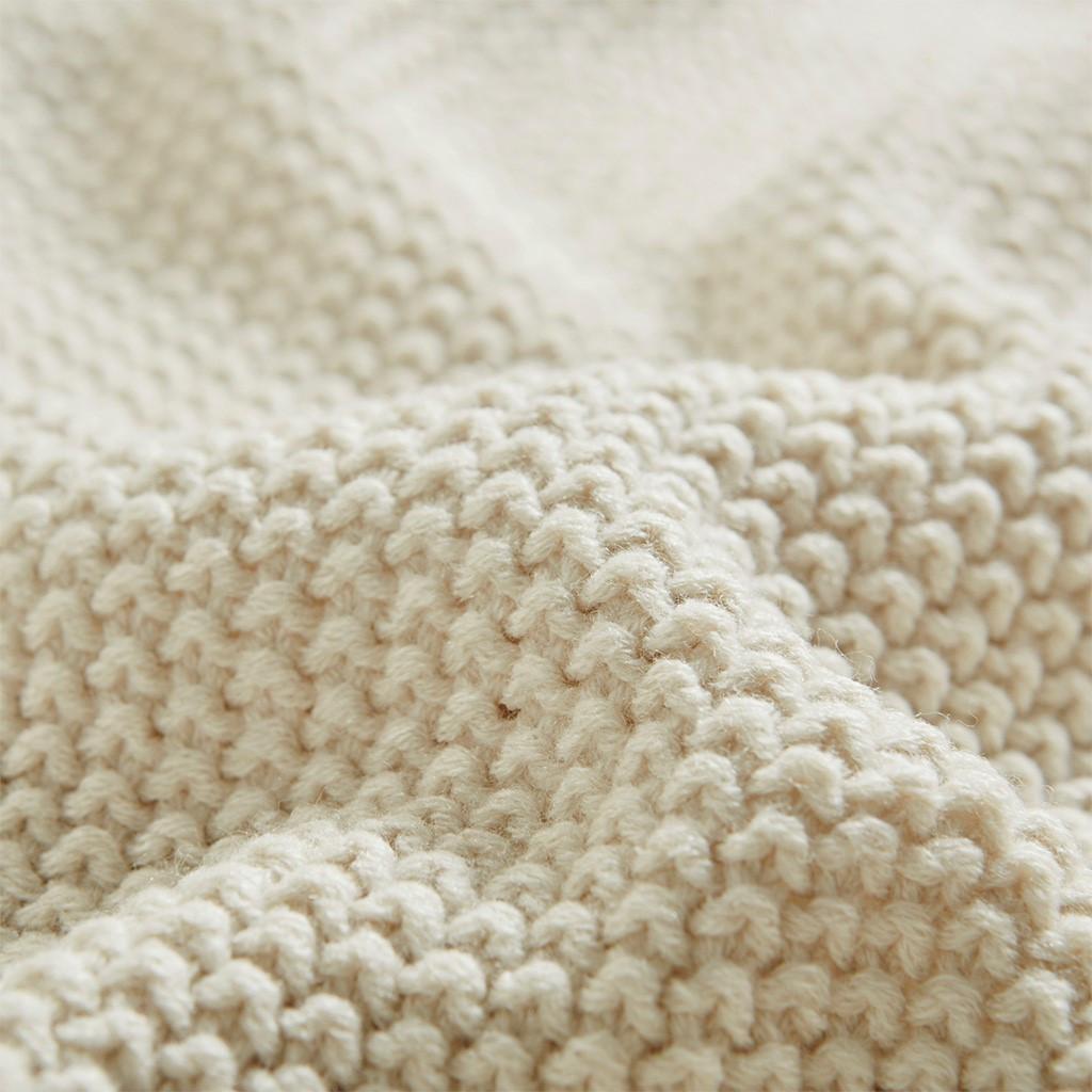 Cream Ivory Bree Knit Throw close up