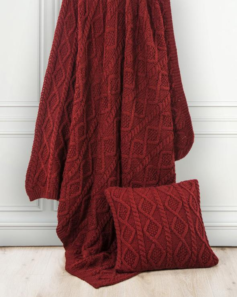 Crimson Diamond Cable Knit Wool and Cotton Throw room view