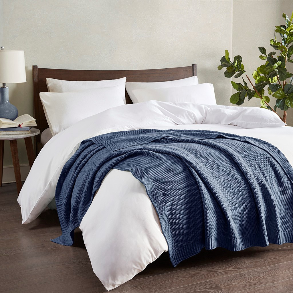 Indigo Blue Bree Knit Throw across bed