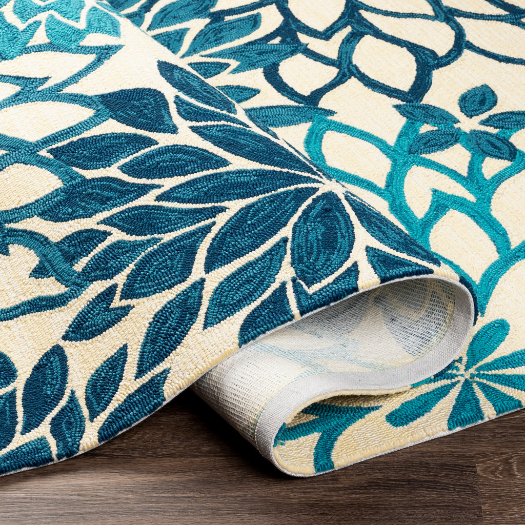 By the Sea Blue Blooms Hand-Hooked Area Rug fold