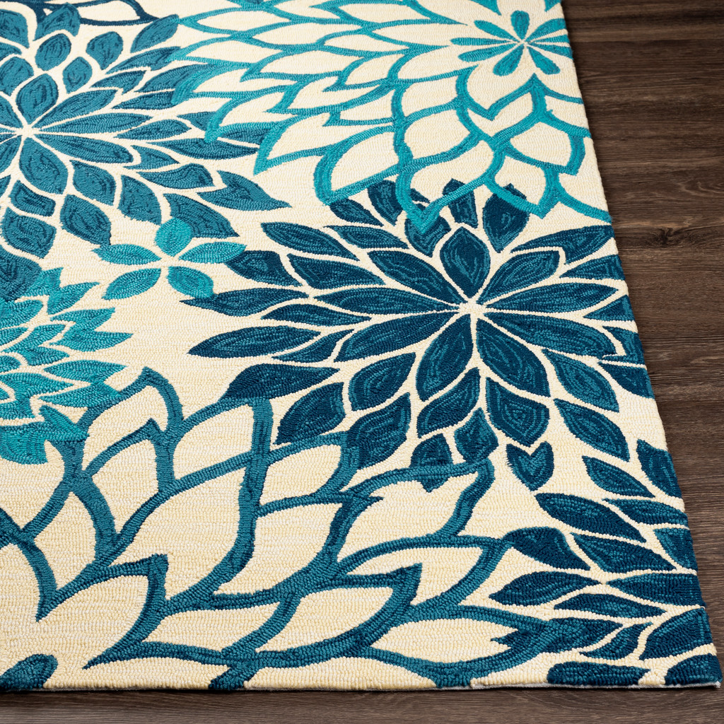 By the Sea Blue Blooms Hand-Hooked Area Rug corner