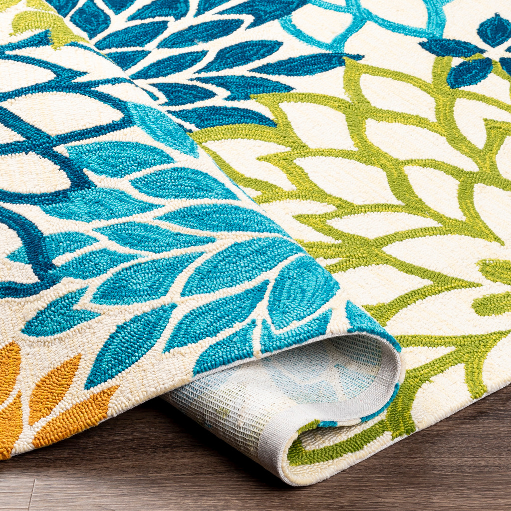 By the Sea Bright Blooms Hand-Hooked Area Rug roll
