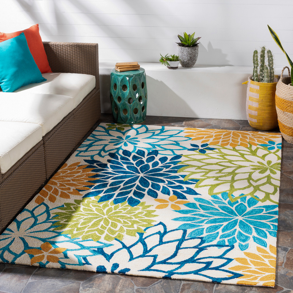 By the Sea Bright Blooms Hand-Hooked Area Rug  room example
