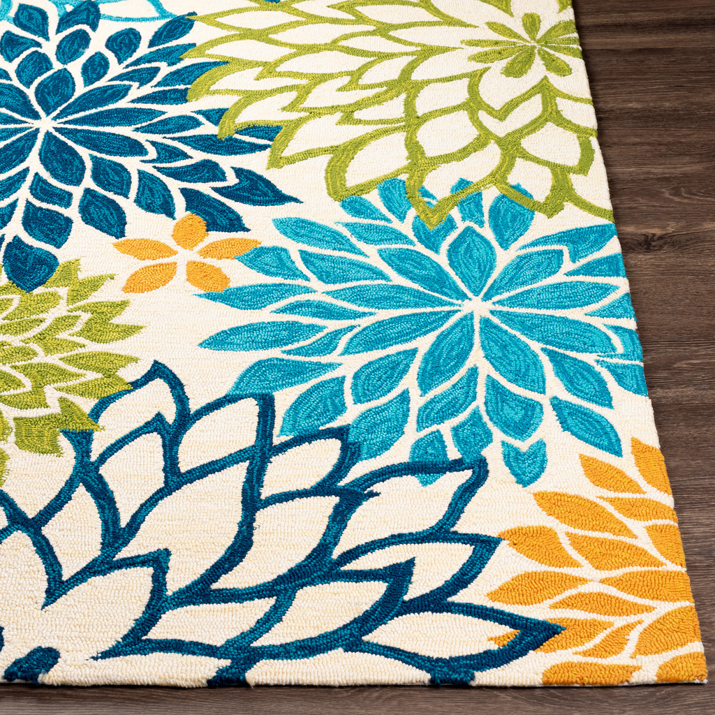 By the Sea Bright Blooms Hand-Hooked Area Rug corner