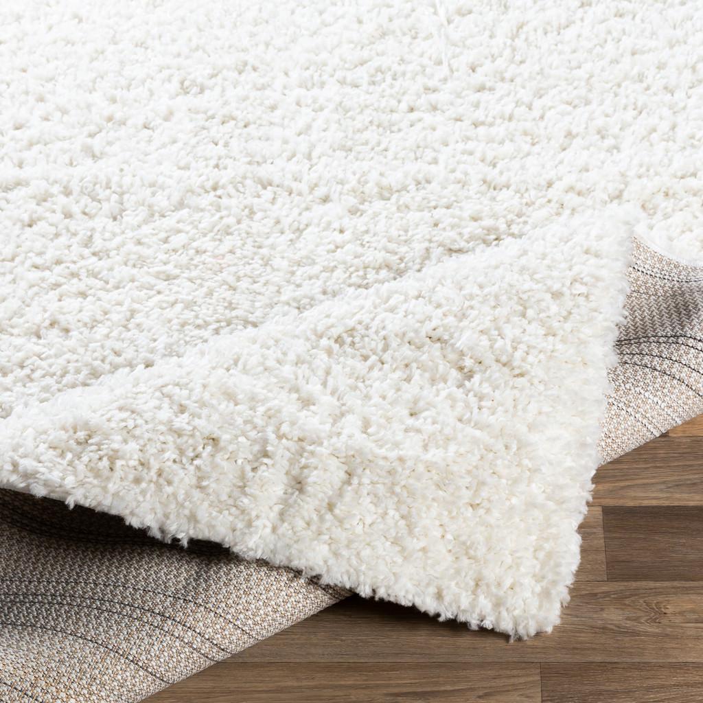 Big Sur White Shag Rug fold