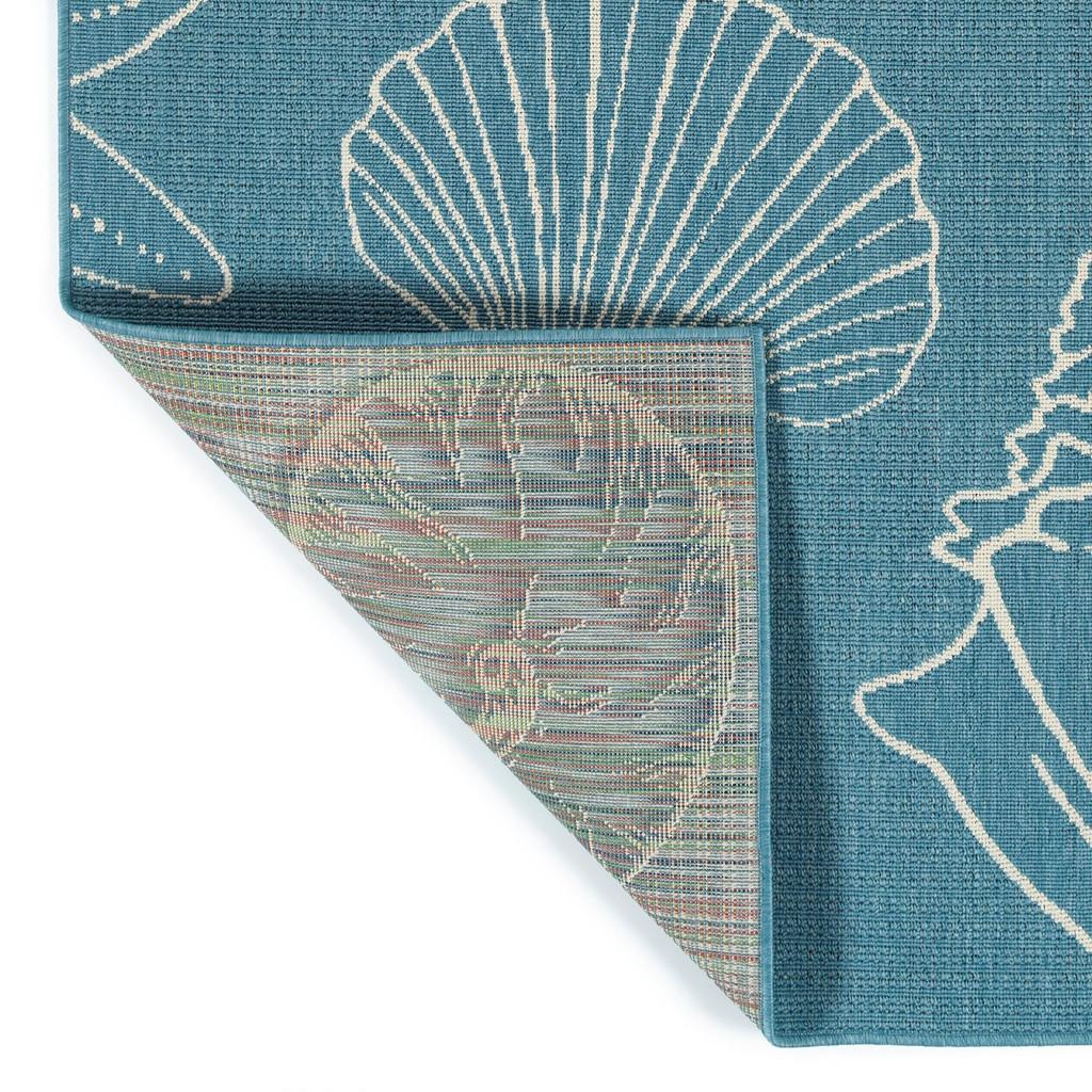 Light Blue Sea Shells Indoor-Outdoor Area Rug backing