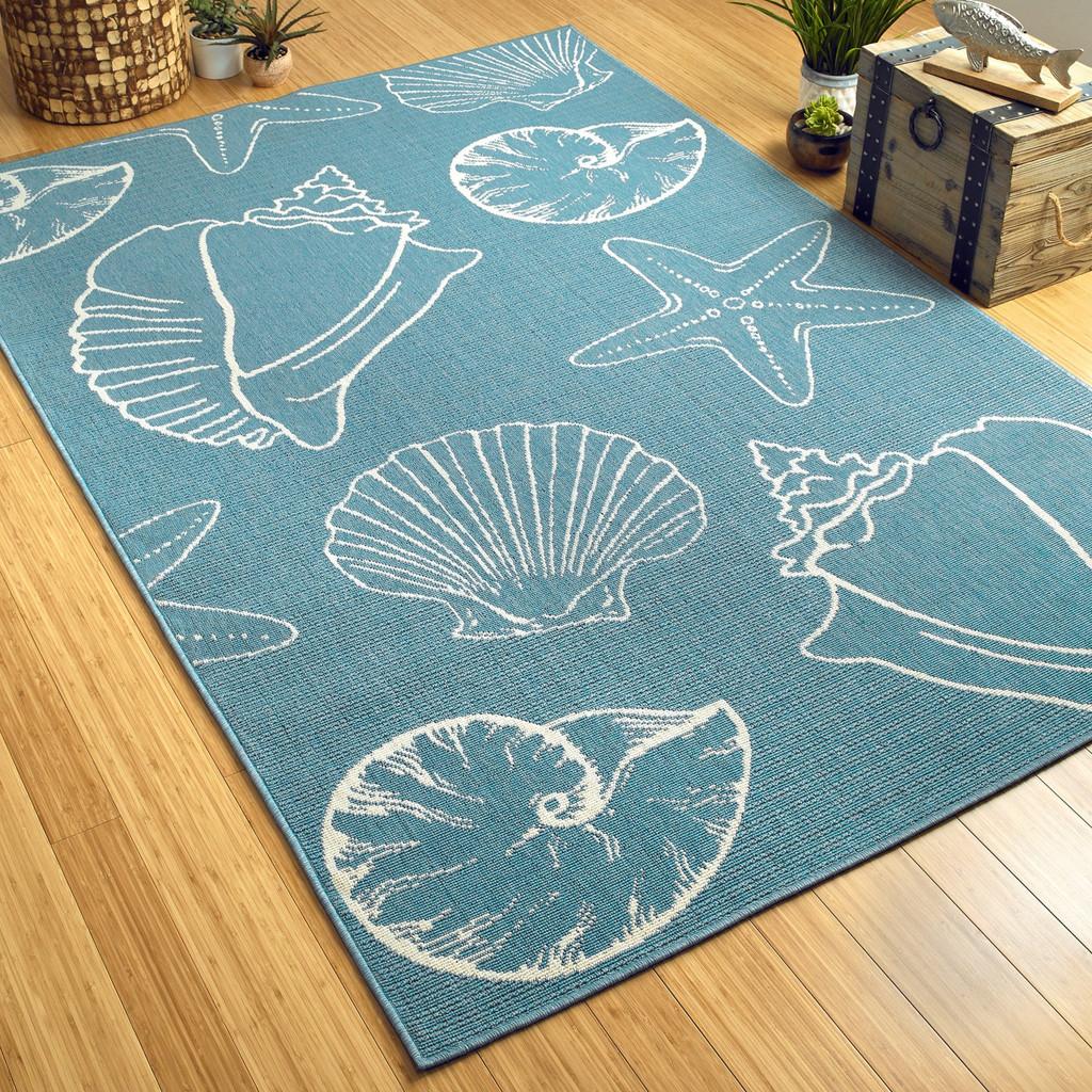 Light Blue Sea Shells Indoor-Outdoor Area Rug floor