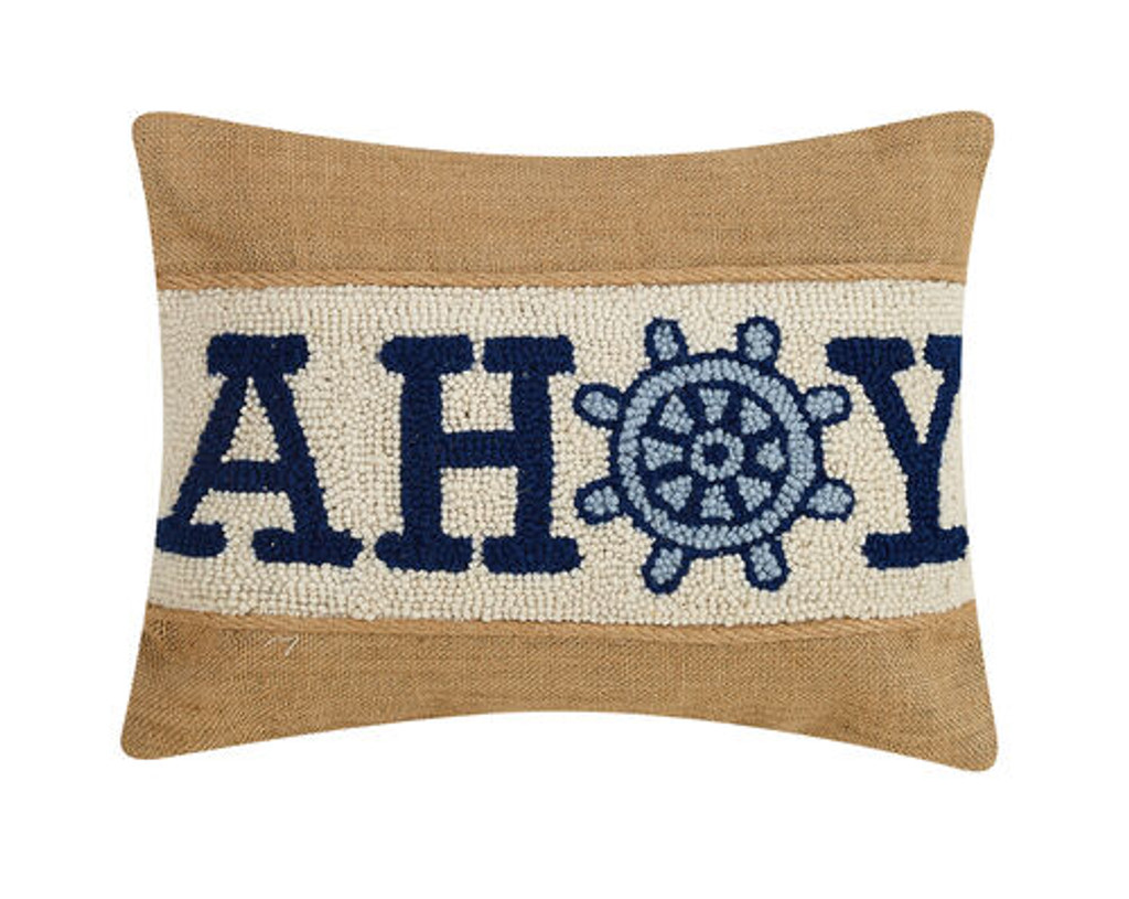Blue Ahoy Wool Hooked and Burlap Pillow