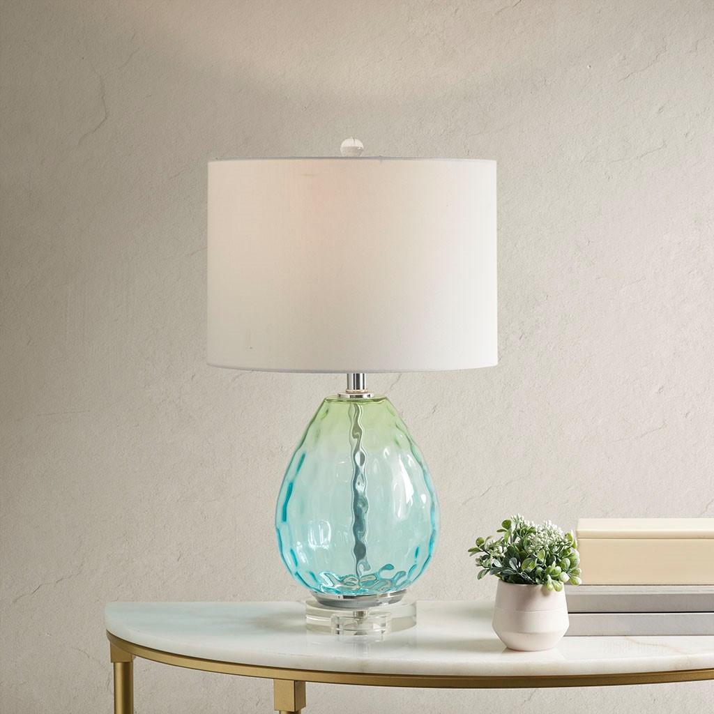 Aurora Sea Aqua Glass Lamp room view light on